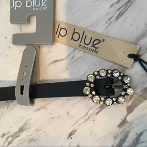 Ip Blue crystal buckle thin belt